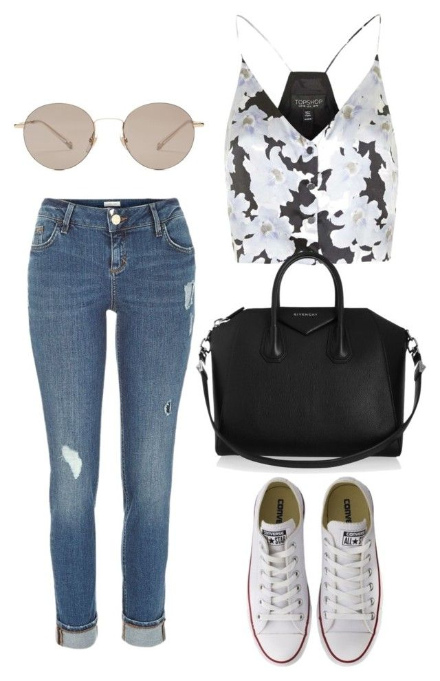 """Sans titre #897"" by alexejrd ❤ liked on Polyvore featuring River Island, Topshop, Converse, Givenchy and Gucci"