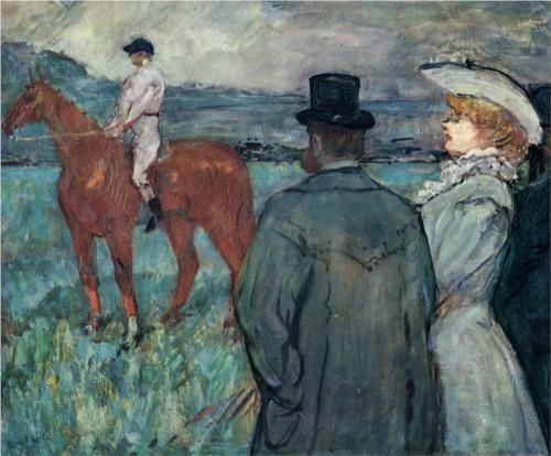 At the Races - Henri de Toulouse-Lautrec,oil canvas,1899
