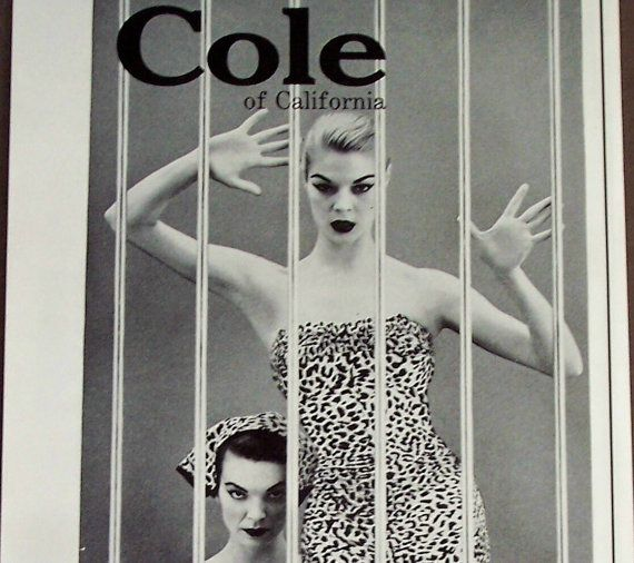 1955 fashion AD Coles Female Animal Swimsuit Collection original advertisement