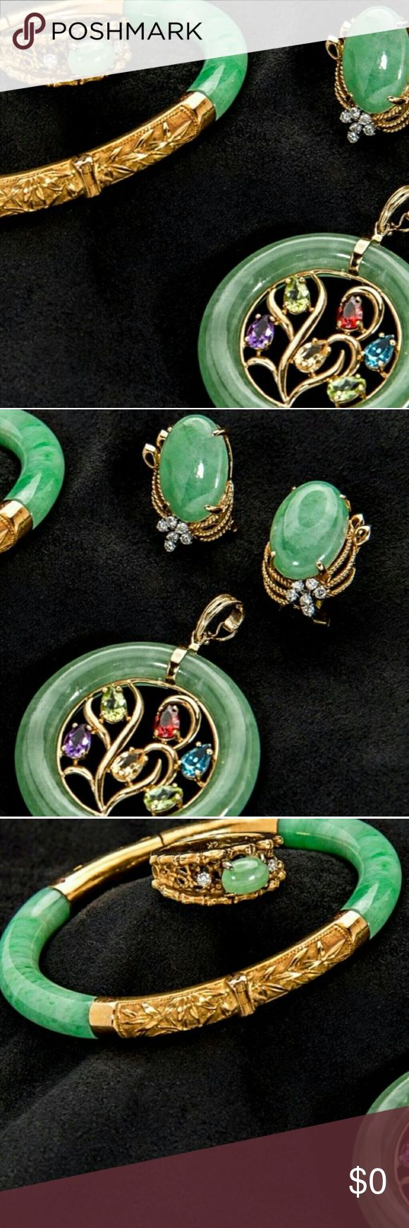 18kt Gold Jade Bracelet w Earrings & 18k Pendant This item was LEFT IN A SAFE DEPOSIT BOX AND SOLD BY THE STATE OF FLORIDA  FOR THE ASKING PRICE OF ONLY $790.00  Get your search today! Website: letmehelpyoufindyourmoney.blogspot.com  (Go to the lower of page) letmehelpyoufindyourmoney.blogspot.com Jewelry