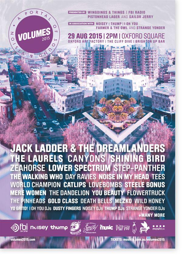 Poster Design for VOLUMES 2015 Music Festival, Sydney.