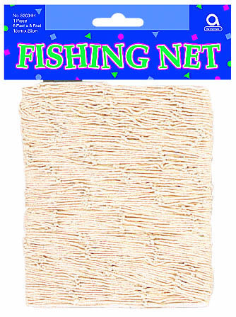 Liven up your luau or beach party with this Natural Fishing Net. The 6 foot x 8 foot net is great for decorating party tables and walls, too. Add some fish cutouts to your net for a more authentic loo