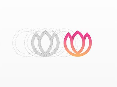 Design, flower, logo, simple, clean, modern, ombre, circles, pink, orange, graphic design, creative, balance  Lotus by Yoga Perdana