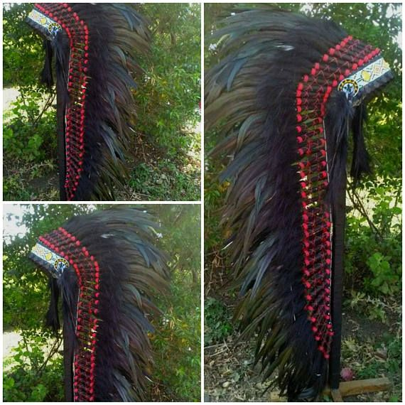 Long Length Native American inspired Headdress Chief Indian