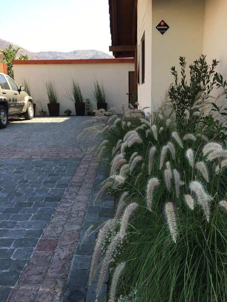 Proyecto privado en Chamisero. Entrada principal. Lindos Penisetum