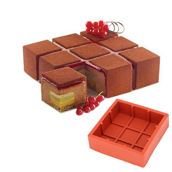 Square Cubic Lattice Shaped Wine Red Cake Mold Silicone Baking