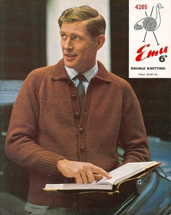 Cardigan With Shirt Collar 36 44 Chest Beginner Etsy In 2020 Vintage Knitting Patterns Vintage Mens Fashion 60s Men S Fashion