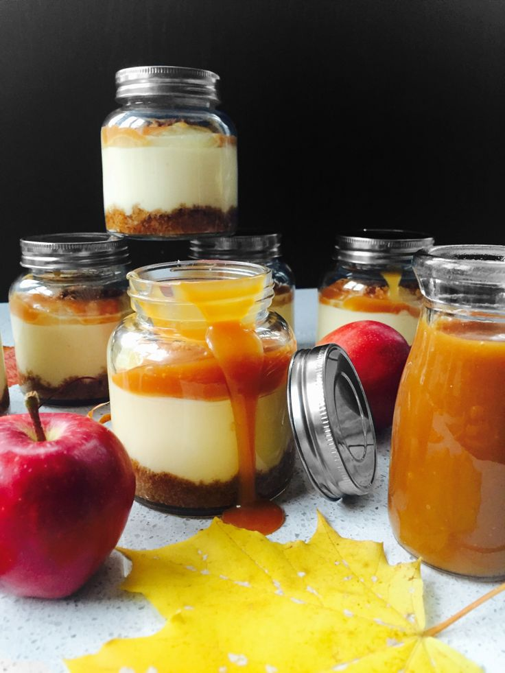 American cheesecake in a jar with norwegian apples and delicious salty caramel sauce