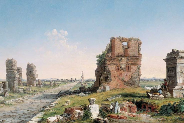 Via Appia, 1867. With the American tourist in mind, John Linton Chapman produced numerous versions of this painting of the Via Appia, the ancient roadway outside Rome that is lined with the ruins of tombs. Chapman describes the scene in precise detail, thus competing with popular photographic views of the site. Artist: John Linton Chapman, American, 1839-1905 Medium: Oil on canvas Dates: 1869