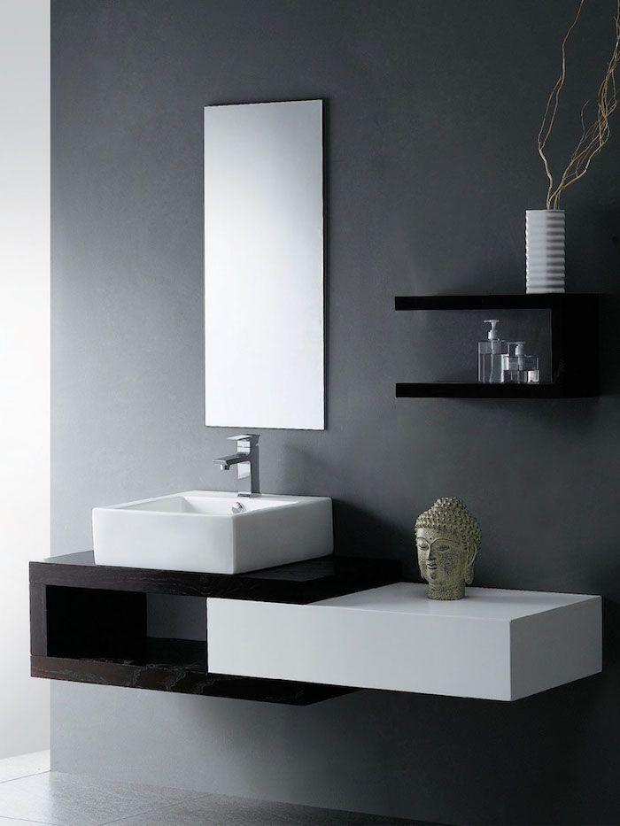 Moderne Badezimmer In Grau Eckiger Waschbecken Bad Dekorieren