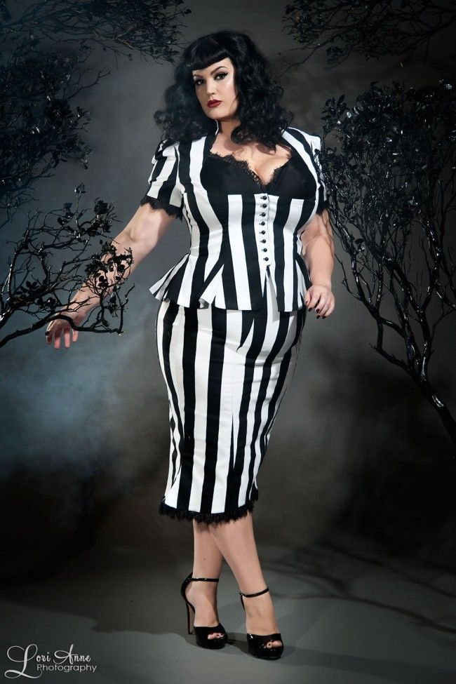 Vintage Goth Pinup Capsule Collection - High Waisted Skirt in Stripes with Fishtail Hem - Plus Size