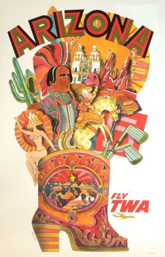 Original-Travel-Poster-TWA-David-Klein-Arizona-SCARCE-Vintage-Airline-Art-c1960