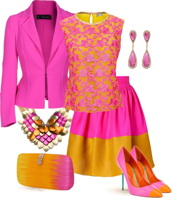 """""""Pink & Orange for Party"""" by yasminasdream ❤ liked on Polyvore"""
