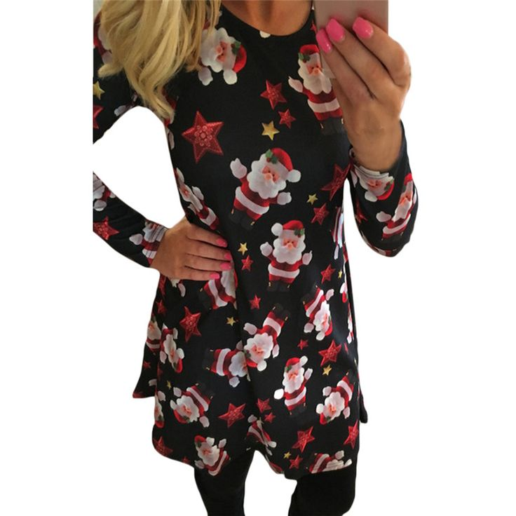 Hot Sale Fancy Black Red A-Line Santa Claus New Year Christmas Party Dresses 2016 Autumn Long Sleeve Dress For Women♦️ SMS - F A S H I O N 💢👉🏿 http://www.sms.hr/products/hot-sale-fancy-black-red-a-line-santa-claus-new-year-christmas-party-dresses-2016-autumn-long-sleeve-dress-for-women/ US $7.45
