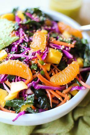 Gorgeous --> Crunchy Kale & Mandarin Salad with Avocado, Mango + topped with Homemade Lemon Poppy Seed Dressing #veggielove #fresh