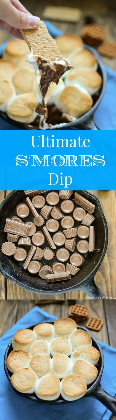 ultimate s'mores dip! reese's cups and rolos melted under toasty marshmallows. Use graham crackers and pretzels to scoop the dip, OMG! So good.