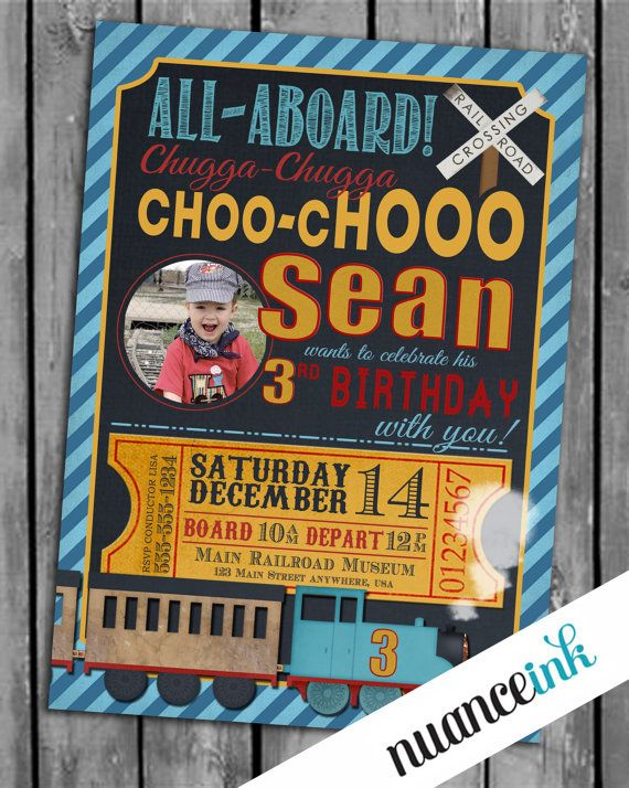Custom Train Birthday Party Invitations Thomas the by NuanceInk, $15.00