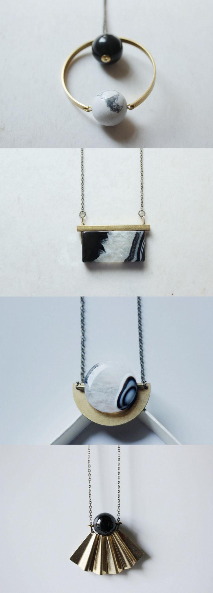 Geometric necklace gemstone necklace black and white marble necklace long……