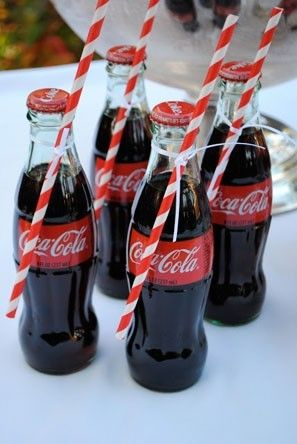 Coca Cola wedding favors with red striped straws