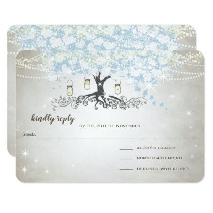 #Light Powder Blue Heart Leaf Tree Wedding RSVP Card - #weddinginvitations #wedding #invitations #party #card #cards #invitation #country