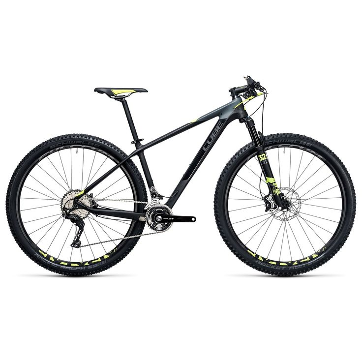 Cube Reaction GTC SL 2x Hardtail Mountain Bike - 29 Inch - 2017 Medium - 17 Inch - Carbon / Flash Yellow