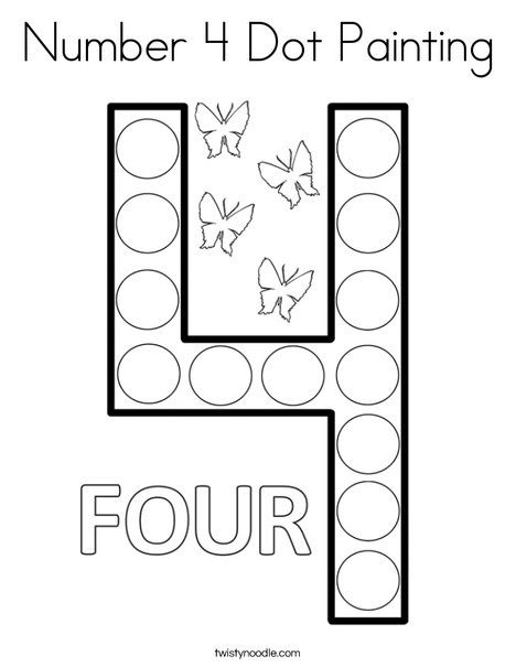 Number 4 Dot Painting Coloring Page - Twisty Noodle (With ...
