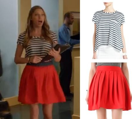 Mistresses episode 7: Joss' (Jes Macallan) BCBG striped tee paired with Halston Heritage's red bell skirt with pockets #mistresses #getthelook