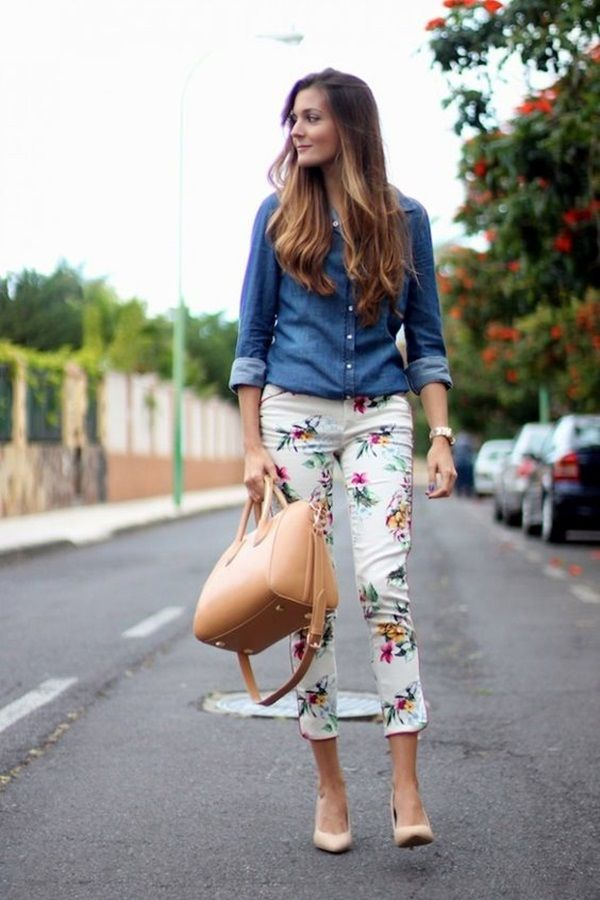 Cute Casual Chic Outfits - flowers pants, denim top, nude heels and bag.