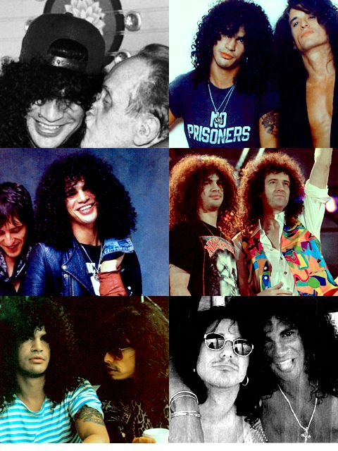 With Les Paul, Joe Perry, Izzy Stradlin, Brian May, Steven Tyler, and Gilby Clarke.