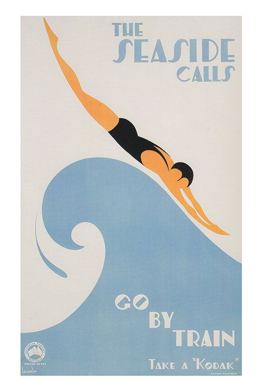 Art Deco Poster Art Deco Print Swimming Poster by ArtDecoGallery