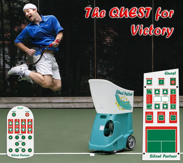 The QUEST has it all! With a 20-button remote control, adjustable angles of oscillation, adaptive all-court (vertical and horizontal) oscillation and 2-line delivery. This machine is so smart it even parks itself in the center when you're done!