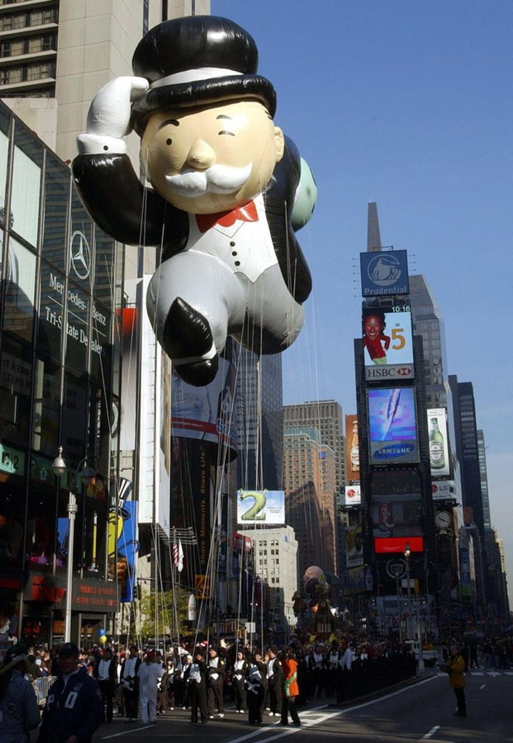The Mr. Monopoly balloon from the Parker Brothers' board