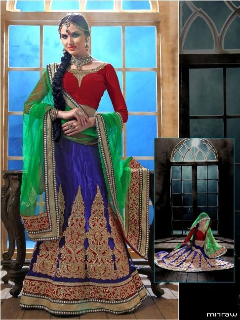 Multicolored net lehenga