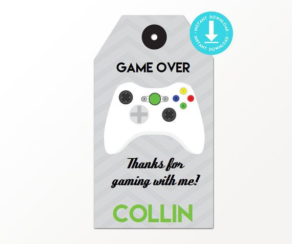 Video Game Party with White Controller Favor Tags The files are set up to print on 8.5 x 11 Paper with 10 favor tags per page. ------------------------------------ IMPORTANT PLEASE READ ------------------------------------ ALL of the items in our shop are digital file that you