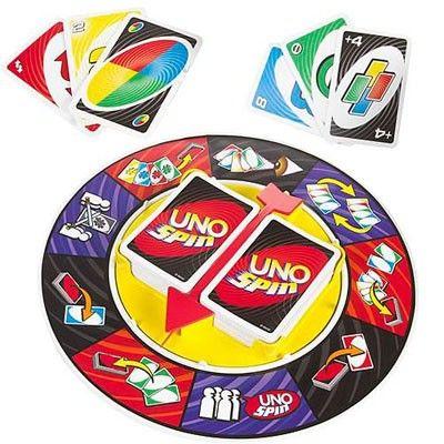 UNO SPIN El famoso juego Uno Spin en una versión especial para viaje con íconos, reglas y caja para guardar las cartas para facilitar el transporte. Juega una carta, gira y descubre cómo la partida puede cambiar en un solo momento.