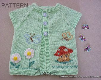 Knitting pattern for baby.Knitted baby cardiganknit por AnaSwet