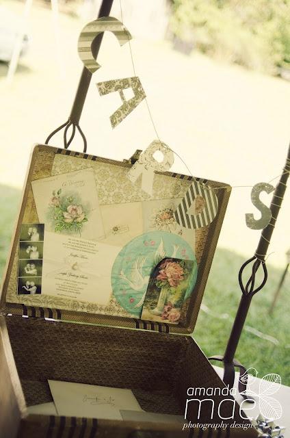 Eco-friendly, Rustic vintage wedding - antique suitcase card box