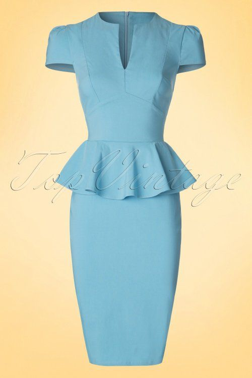 Vintage Chic - 50s Carry Peplum Dress in Sky Blue