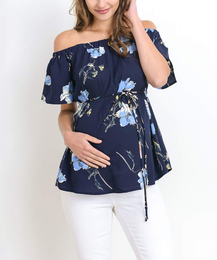 $14.79 | the perfect floral maternity top for Spring! | Navy & Blue Floral Maternity Off-Shoulder Top | maternity fashion | maternity dress | maternity wardrobe | maternity clothes | maternity outfit | spring maternity fashion | summer maternity fashion | #ad