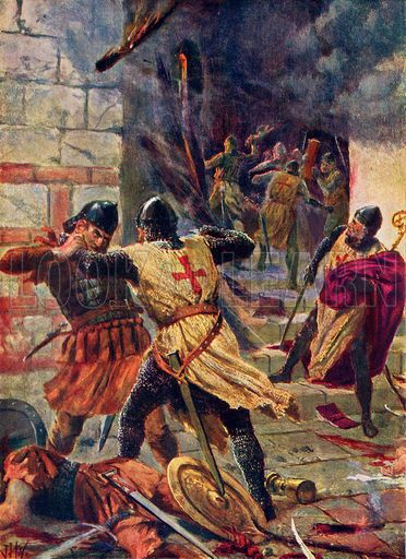 The capture of Constantinople by Crusaders. Illustration for Hutchinson's History of the Nations (Hutchinson, c 1915).