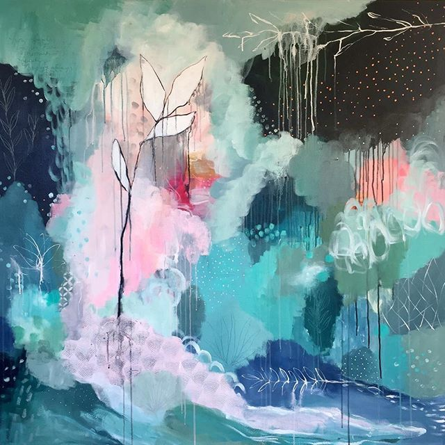 Update: Blog post about this painting is now up! Link in profile.   The details have well and truly multiplied on this one. I said I was going in to the studio to put on some finishing touches and that I'd be about half an hour. 3 hours later and I have emerged! Plenty of flow in this one, so much inky goodness 💙 #abstractpainting #abstractlandscape #natureinspiredart #intuitivepainting #abstractexpression #colourfulart #markmaking #patternplay #adelaideart #adelaideartist