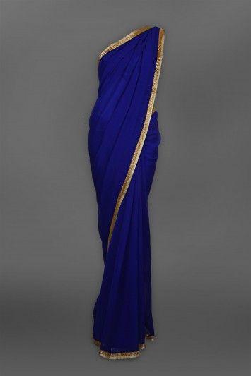 Navy+Blue+Plain+Sari+with+Heavy+Collar+Blouse