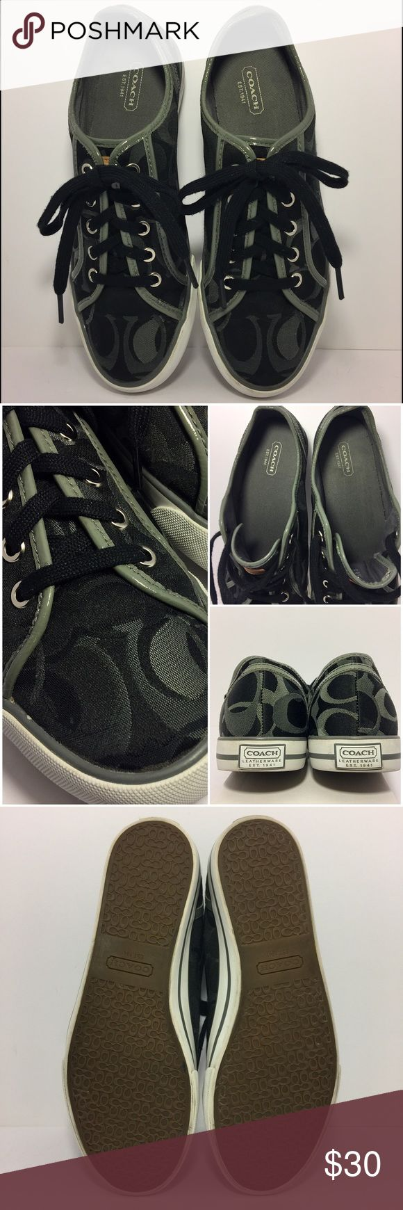 COACH Black and Grey Signature Canvas Sneakers Pristine condition Coach sneakers for dress-down Friday or hanging out. Canvas fabric upper with vinyl trim with no signs of wear. Meticulously cared for with fully in-tact insoles. No visible signs of wear on the rubber soles, clean up great and look brand new. These are must-have casual playtime shoes. Coach Shoes Sneakers