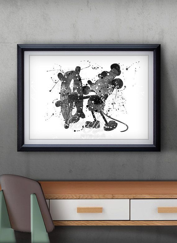 Disney Mickey Mouse Steamboat Willie Watercolor by GenefyPrints