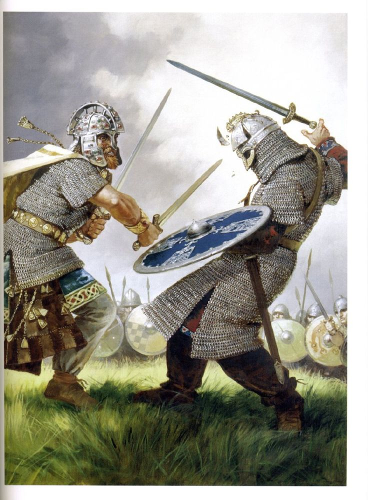 Battle of Clontarf. Southern Ireland 1014.  A duel between Murchad (son of Brian Boru) and the Viking chieftain Sigurd.