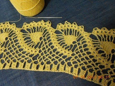 Crochet orilla de piñas parte 1 de 2 - YouTube