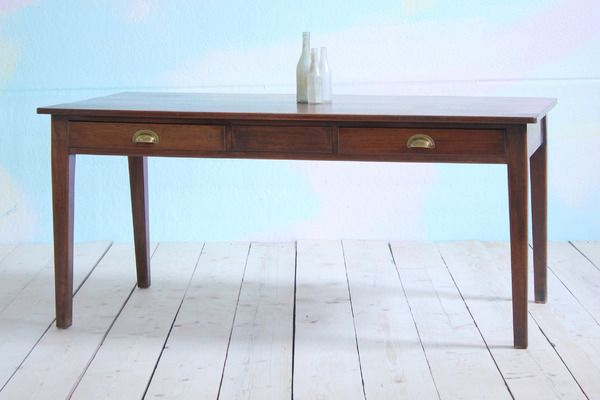 Antique Refectory Table With Drawers   Vinterior