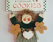 Primitive Girl Gingerbread Cookies Wall Decor, Christmas Holiday Painted Wood, Homemade Cookies Door Hanger Rustic Farmhouse Country Kitchen