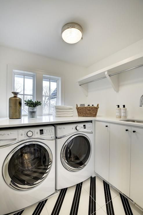 Diagonally Striped Laundry Room Floors Laundry Rooms