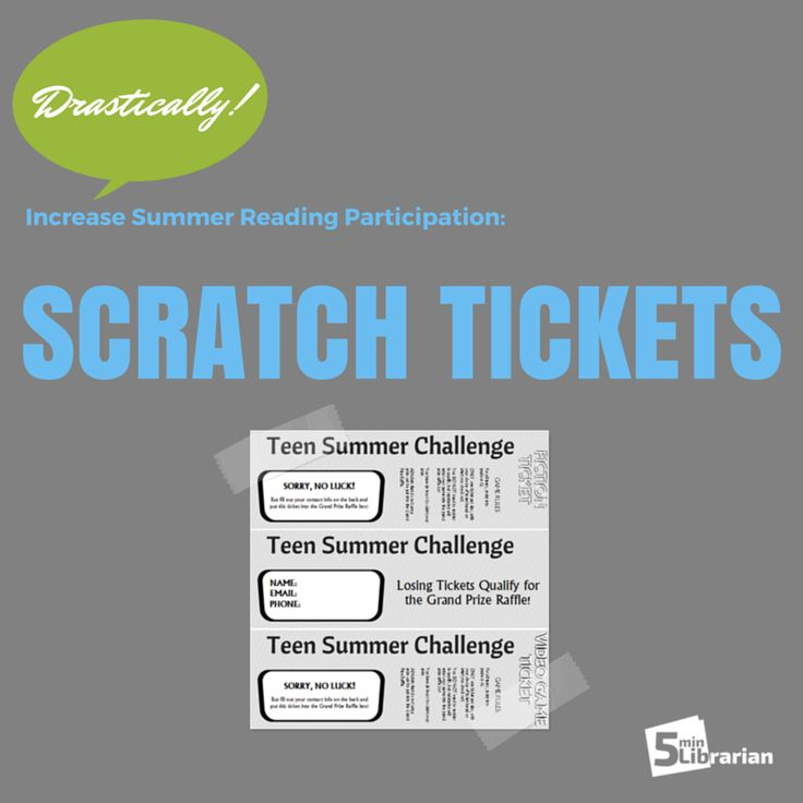 Using Scratch Tickets increased SR participation from 46 to 321 teens! | 5 Minute Librarian